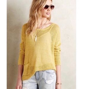 Anthropologie Sparrow Yellow Pocket Knit Sweater